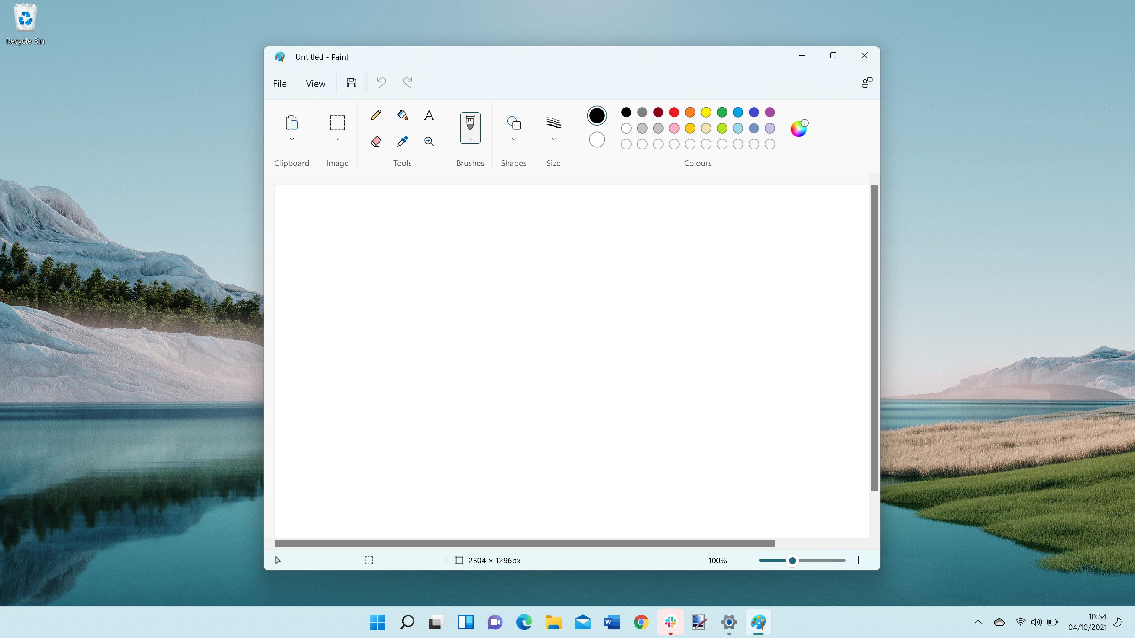 Windows 11 screenshot of the new Paint app