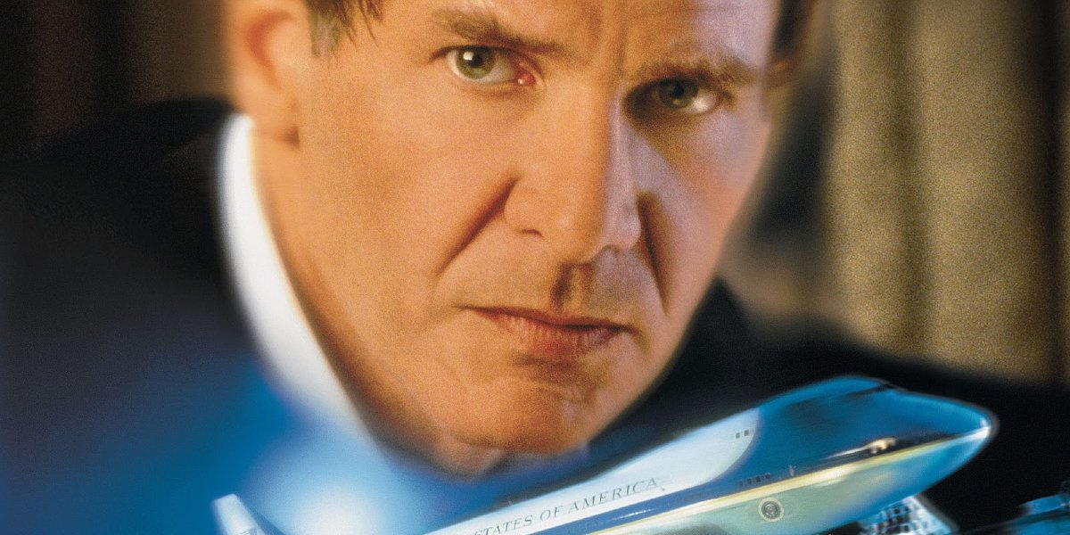 Air Force One Harrison Ford scowls over the speeding plane