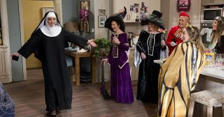 Jack Callahan is horrified to see Paige Smith dressed as a nun at Lauren Turner's Hens Party in Neighbours