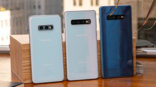 From left to right, the Samsung Galaxy S10e, Galaxy S10 and Galaxy S10 Plus