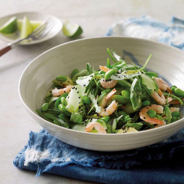 Prawn, avocado and edamame salad photo