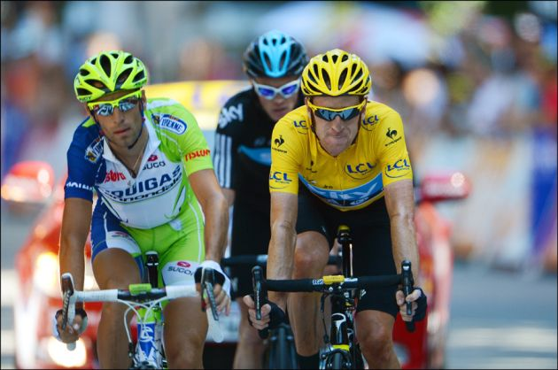 Bradley Wiggins, Vincenzo Nibali and Chris Froome, Tour de France 2012, stage 16