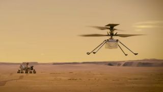 An artist's impression of NASA's Mars helicopter Ingenuity flying on the Red Planet.