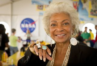 "Actress Nichelle Nichols is seen at NASA's Kennedy Space Center in Cape Canaveral, Florida during a 2010 event with LEGO. The ""Star Trek"" actress, who portrayed Lt. Uhura on the TV series, reportedly suffered an apparent stroke on Wednesday (June 3)."