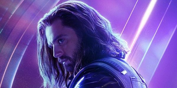 Avengers: Endgame Bucky Barnes standing in front of a purple glow