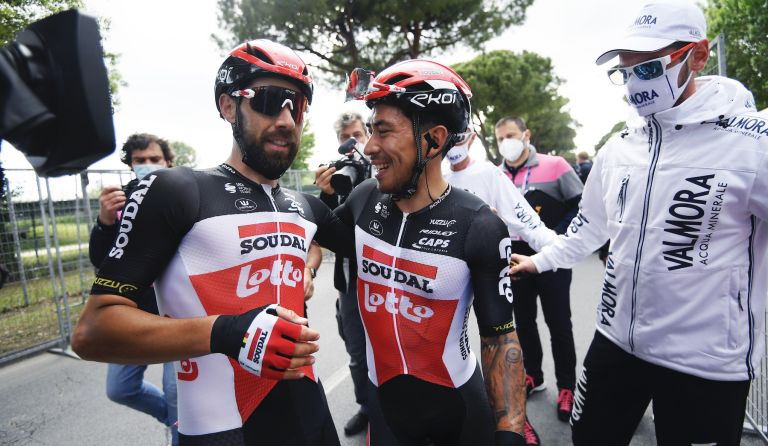 Caleb Ewan and Thomas De Gendt celebrate stage victory at the Giro d'Italia 2021