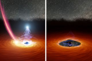 Something caused a giant black hole's bright corona to wink out. Researchers suspect it may have been a collision with a star, illustrated here.