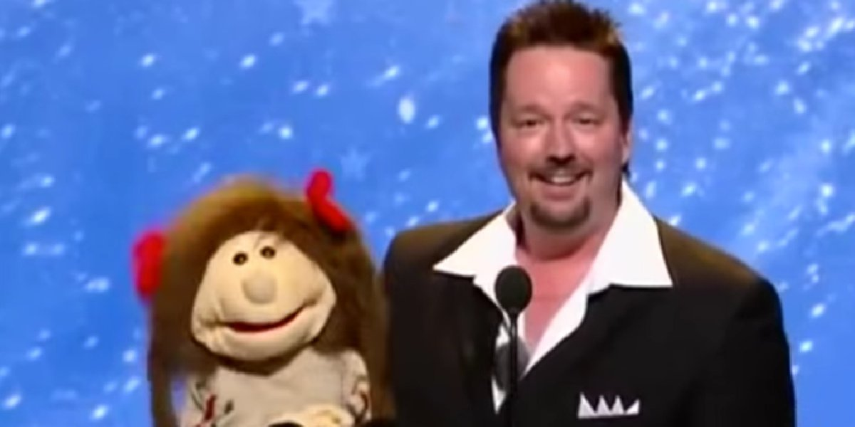 Terry Fator with one of his puppets on America's Got Talent.