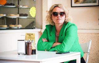 Janine in EastEnders wearing sunglasses