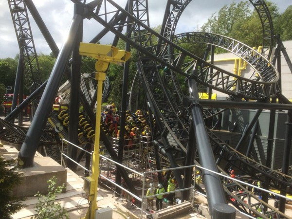 Emergency services attending the crash scene on the Alton Towers Smiler ride