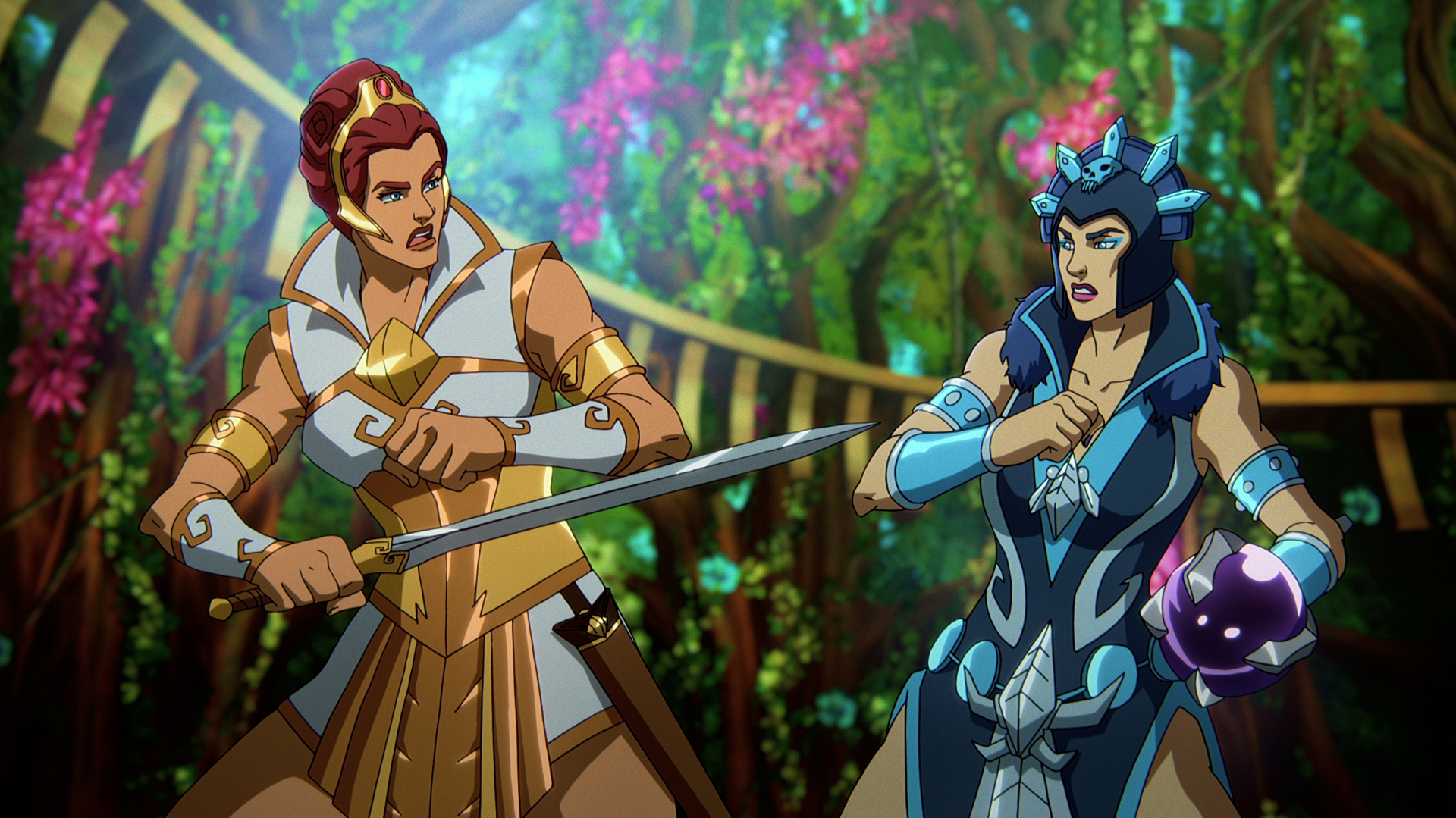 Teela and Evil-Lyn in Masters of the Universe: Revelation