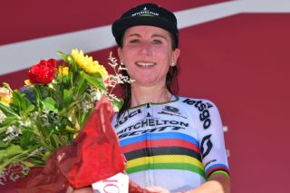 SIENA ITALY AUGUST 01 Podium Annemiek Van Vleuten of The Netherlands and Team Mitchelton Scott World Champion Jersey Celebration during the Eroica 6th Strade Bianche 2020 Women Elite a 136km race from Siena to Siena Piazza del Campo StradeBianche on August 01 2020 in Siena Italy Photo by Luc ClaessenGetty Images