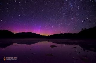 Northern Lights Surround Mt. Katahdin