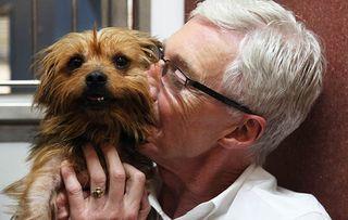 Paul O'Grady with Wilma kiss