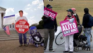 protesters for and against abortion