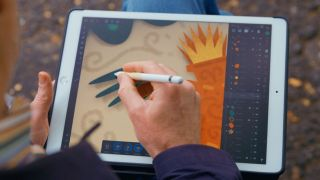 Steve Simpson using Affinity Designer on an iPad