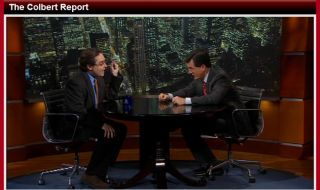 Space historian Andrew Chaikin appears on the Comedy Central TV show The Colbert Report April 4, 2011.