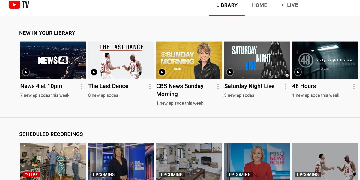 The DVR library on YouTube TV