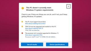 Windows 11 warning
