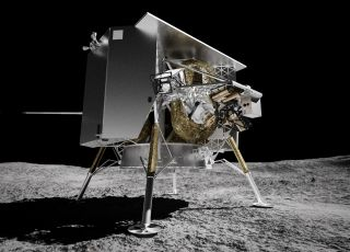 Artist's illustration of Astrobotic's robotic Peregrine lander at Lacus Mortis on the moon. Peregrine's Mission One is scheduled to touch down in 2021.