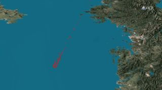 The debris field left from break up and crash of North Korea's Unha-3 rocket shortly after its April 13, 2012 launch is depicted in red in this still from an Analytical Graphics, Inc., simulation. North Korea is located at upper right.