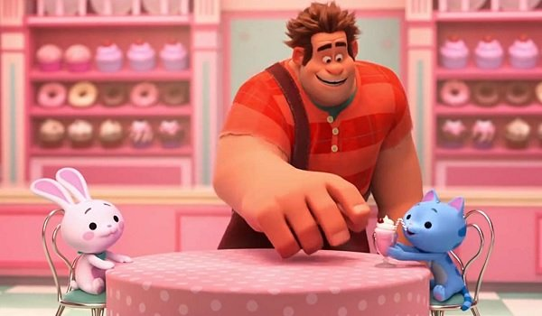 Ralph Breaks The Internet Ralph gives Puddles the cat a milkshake