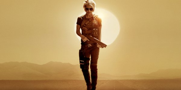 Terminator: Dark Fate Sarah Connor toting a shotgun in the sunset