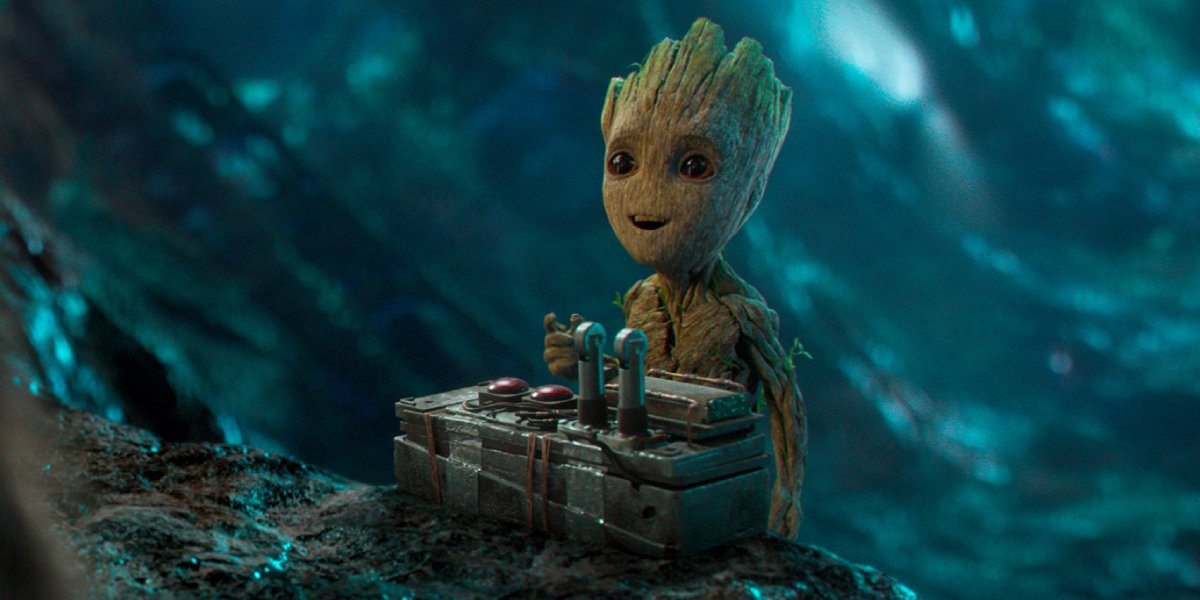 Groot with a bomb in Guardians of the Galaxy Vol. 2