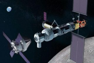 Artist's illustration of the Gateway, the moon-orbiting space station that aims to begin building in 2022.