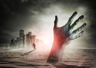Zombie Rising. A hand rising from the ground