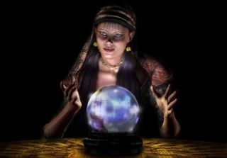 a psychic woman with a crystal ball.