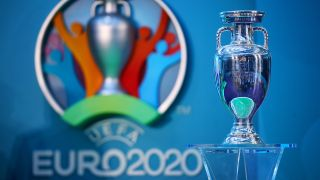 Euro 2020 trophy and logo
