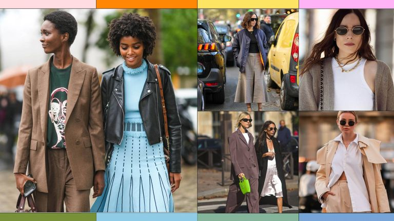 A selection of street style pictures depict items that make up the perfect capsule wardrobe for 2021 include a midi skirt, loose-fitting trousers, elegant flats, leather totes and relaxed blazers