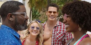 Lil Rel Howery, Meredith Hagner, John Cena, and Yvonne Orji smiling in Vacation Friends