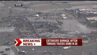 A wider view of the elementary school flattened in Moore, Okla., on May 20, 2013, by a deadly tornado.