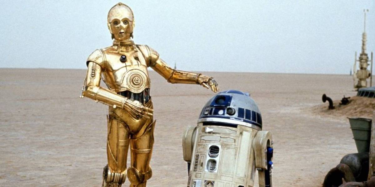 C-3PO and R2-D2 in Star Wars: A New Hope