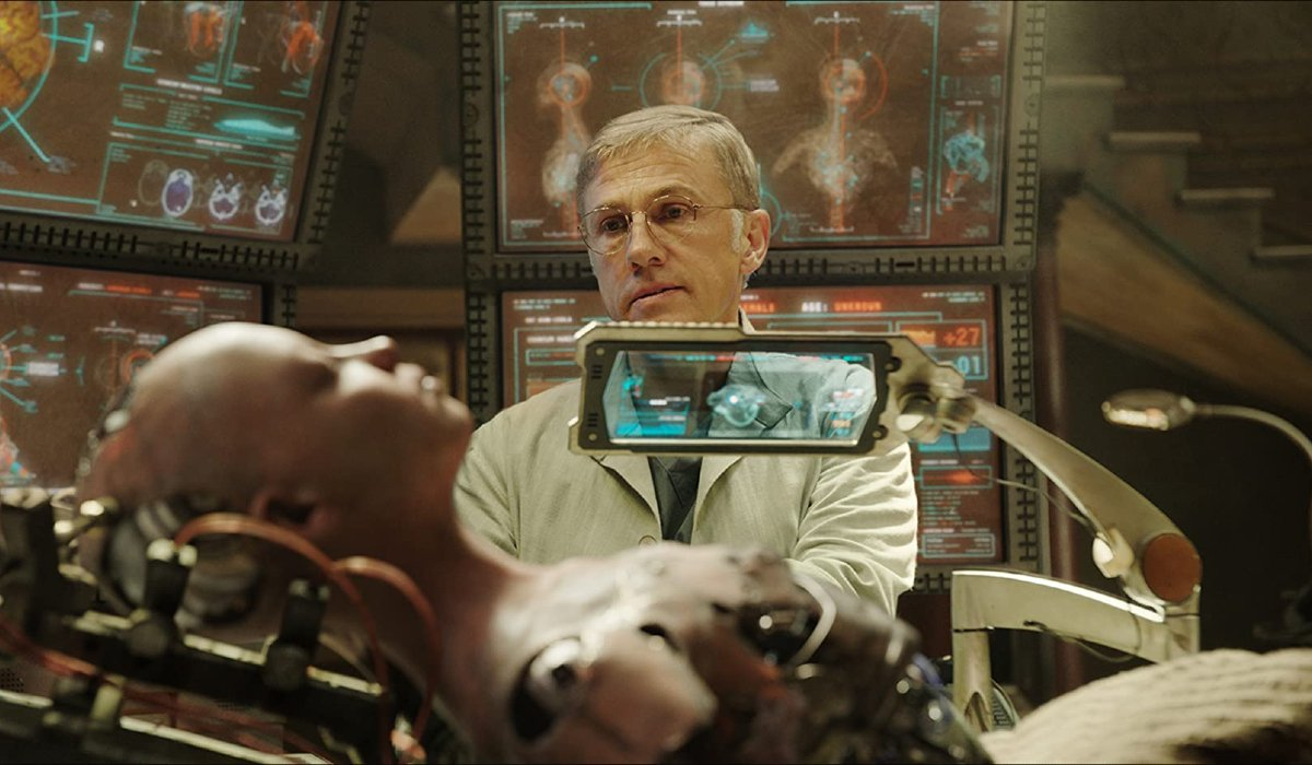 Alita: Battle Angel Dr. Ido looking over Alita's remains