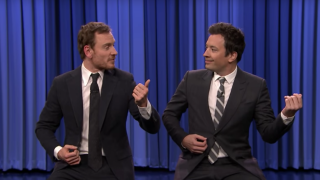 Michael Fassbender and Jimmy Fallon play some mean air bass on US TV
