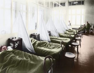 An influenza ward at a U.S. Army Camp Hospital in France during the Spanish flu pandemic of 1918.