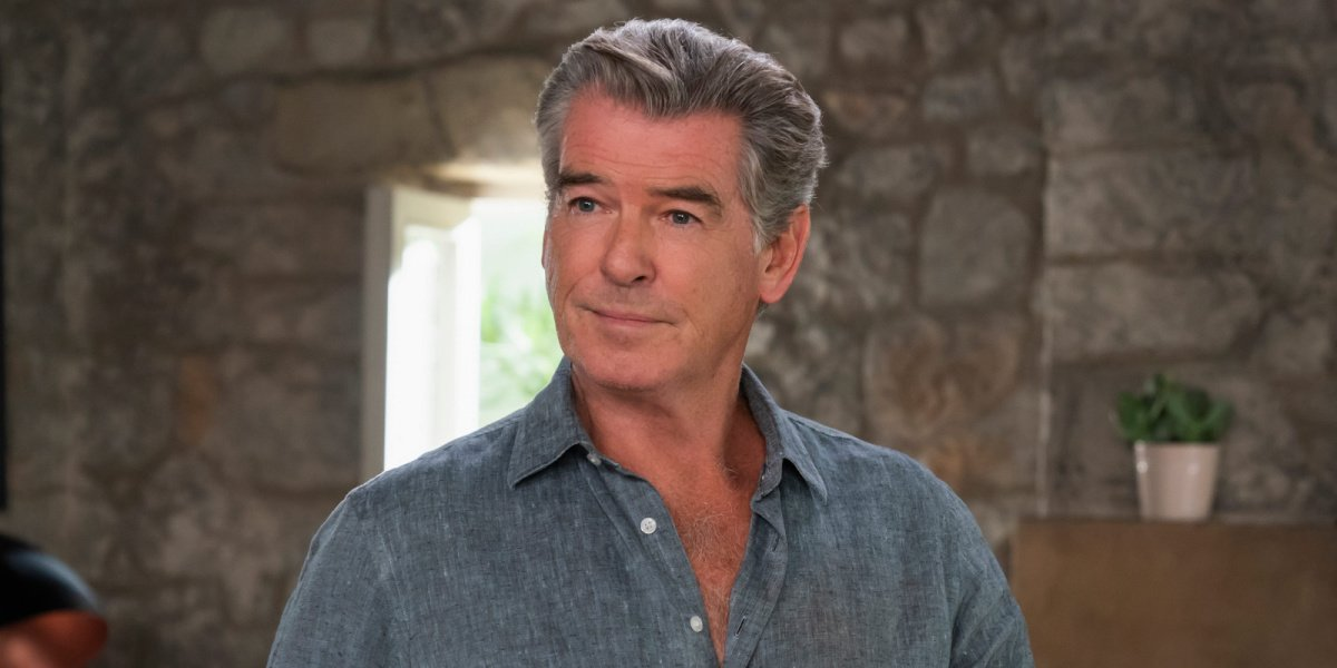 Pierce Brosnan in one of his latest films, Mamma Mia! Here We Go Again. He will be playing King Rowen in Cinderella.