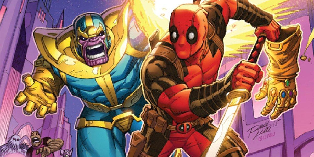 Deadpool runs from Thanos