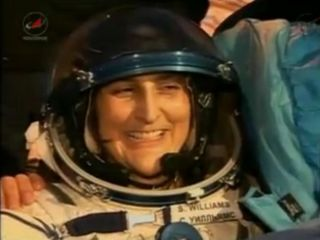 NASA astronaut Sunita Williams, Expedition 33 commander, smiles after returning to Earth on Nov. 18 (EST), 2012, aboard a Soyuz TMA-05M space capsule.
