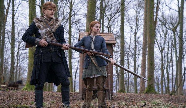 outlander season 4 jamie fraser brianna randall guns shooting starz