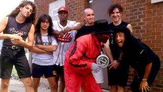 A picture of Anthrax with Public Enemy in 1991