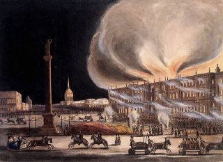 On a cold December night, the symbol of Russia's imperial prowess went up in flames.