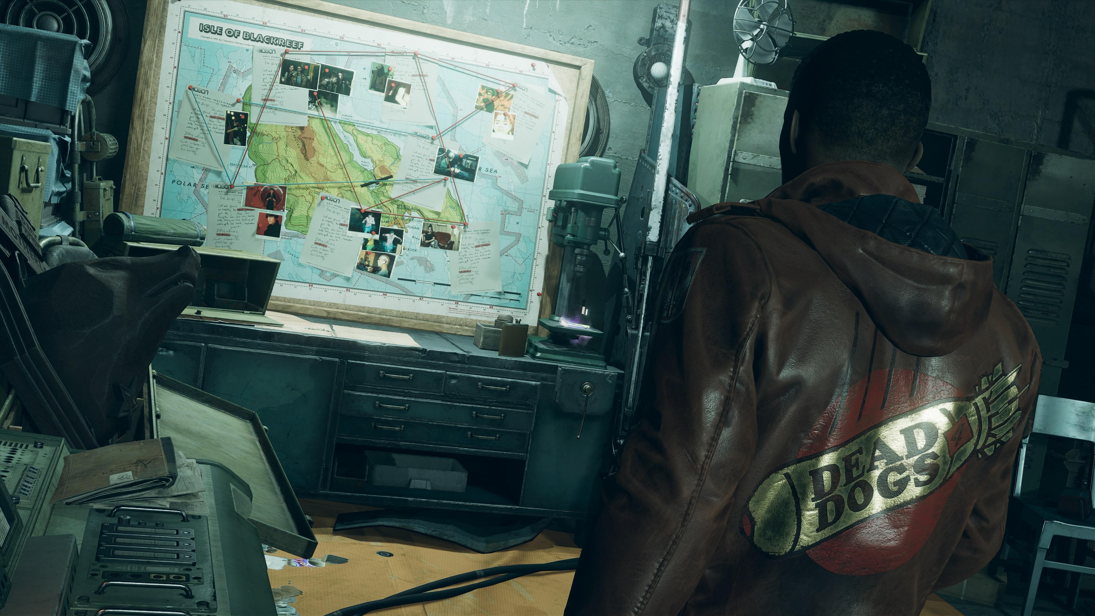 Deathloop Colt looking at a map of Blackreef