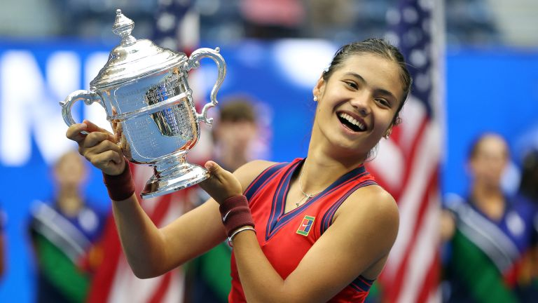 Emma Raducanu of Great Britain celebrates with the championship trophy after defeating Leylah Annie Fernandez of Canada during their Women's Singles final match on Day Thirteen of the 2021 US Open at the USTA Billie Jean King National Tennis Center on September 11, 2021 in the Flushing neighborhood of the Queens borough of New York City, Emma Raducanu ranking