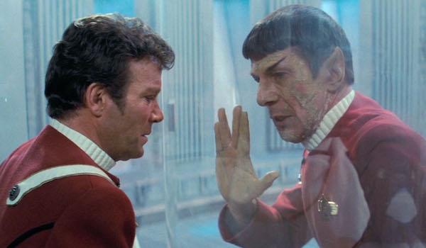 William Shatner and Leonard Nimoy in Star Trek II: The Wrath of Kahn