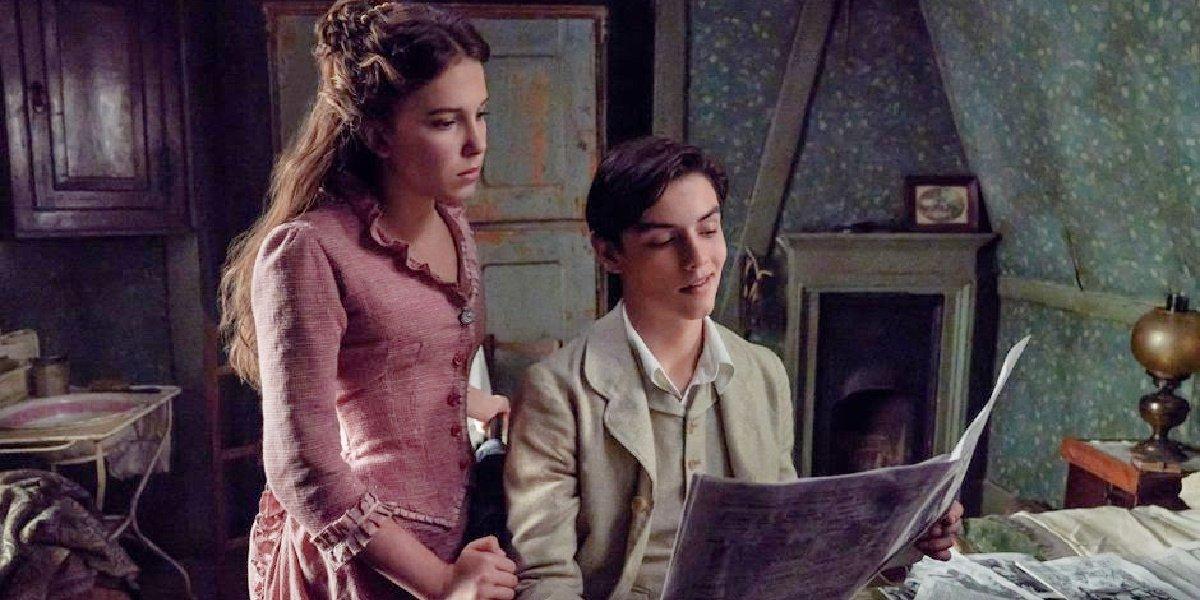Enola with Tewkesbury in Enola Holmes.