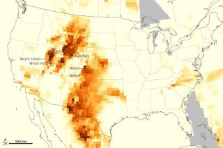 Map of airborne particulates from U.S. wildfires.